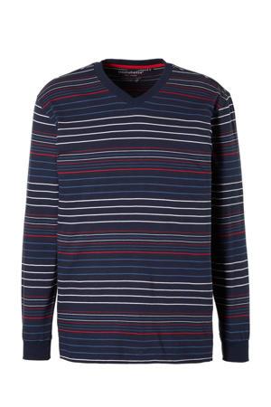 gestreepte pyjamatop marine/wit/rood