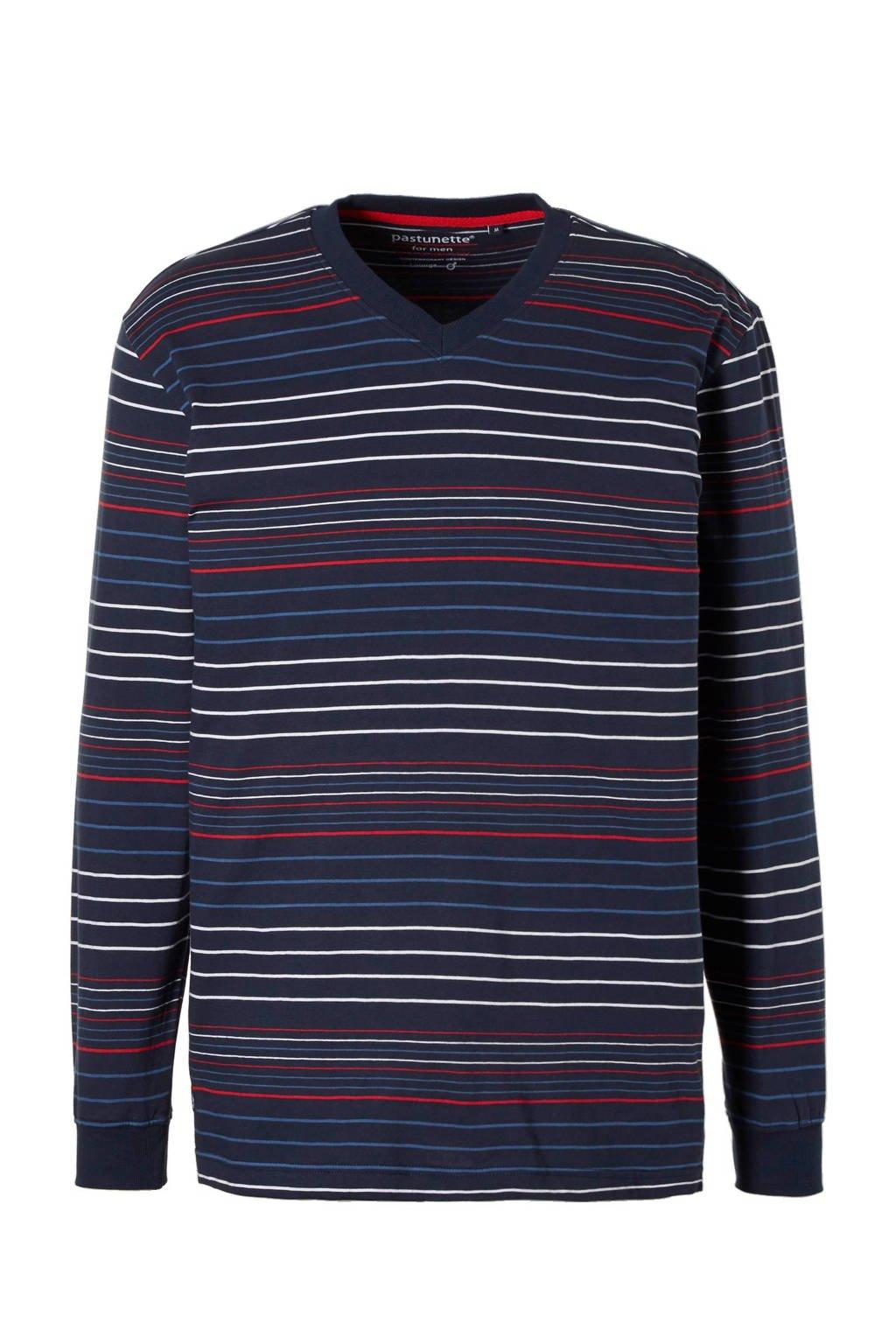 Pastunette for men pyjamatop marine/wit/rood, Marine/wit/rood