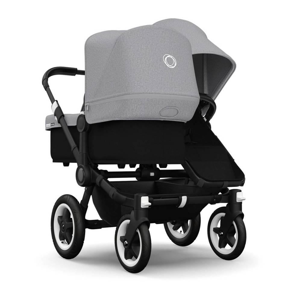Bugaboo Donkey Duo kinder- en wandelwagen zwart/gemeleerd grijs, Zwart/gemeleerd grijs