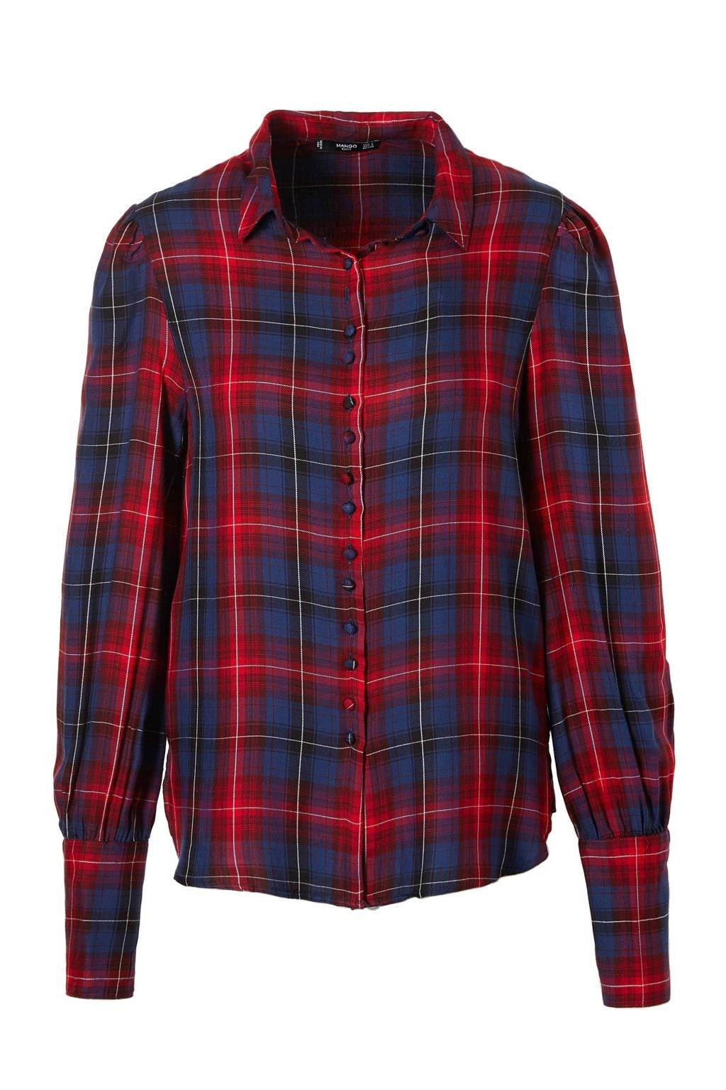 Mango blouse met ruitdessin, Blauw/rood