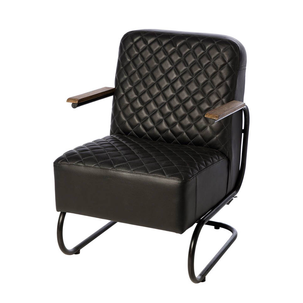 Riverdale leren fauteuil Brooklyn , Zwart