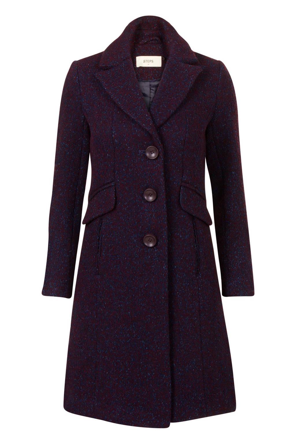 Steps coat met wol, Donkerrood