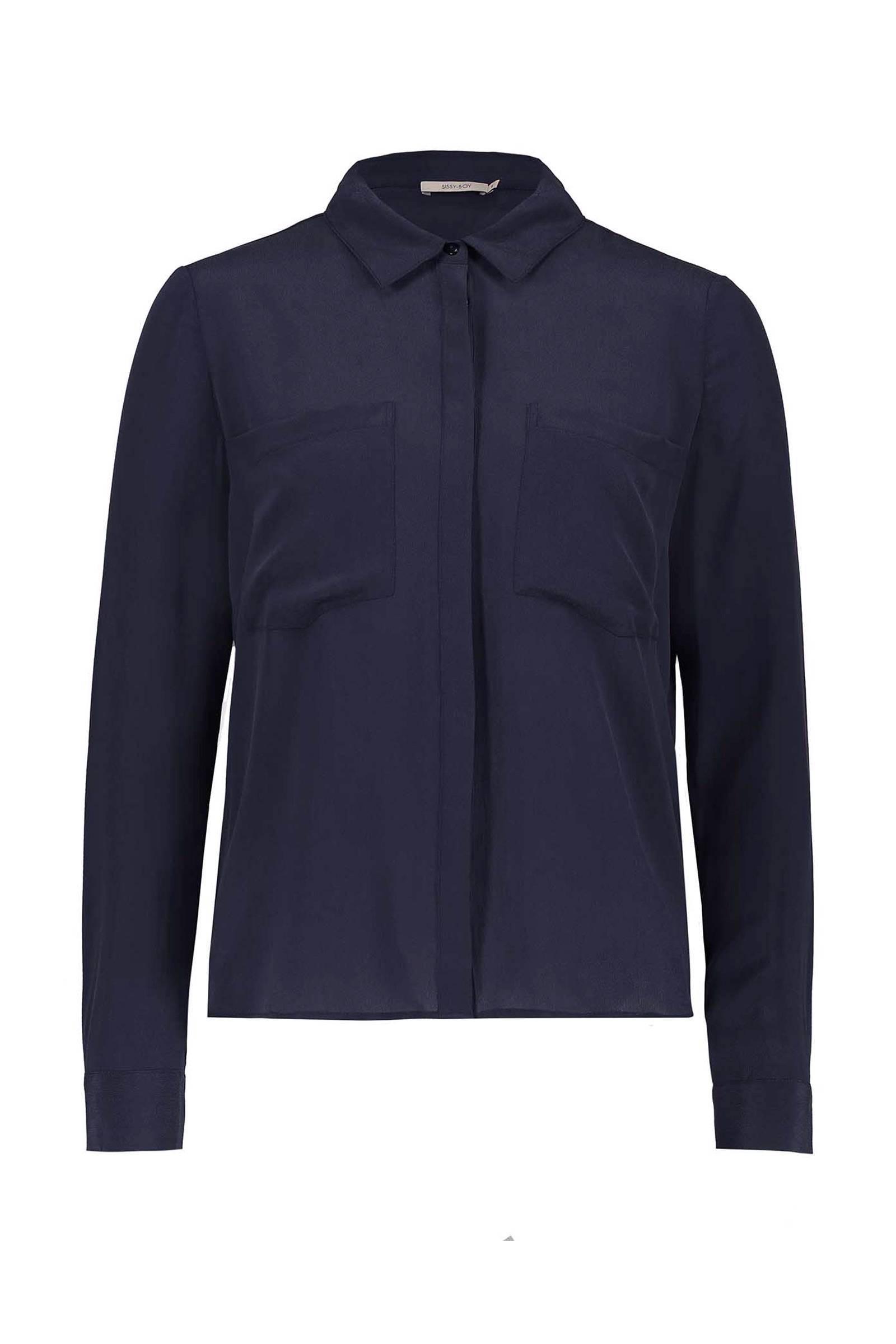 Zijden overhemdblouse Donker marineblauw DAMES | H&M NL