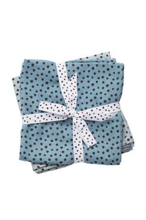 happy dots hydrofiel luier 120 x 120 cm blauw (2 stuks)