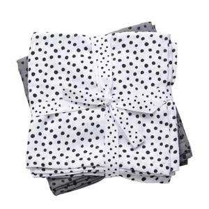 happy dots hydrofiel luier 120 x 120 cm grijs (2 stuks)
