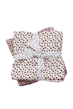 Happy Dots hydrofiele monddoekjes 70x70 cm (2 stuks) roze