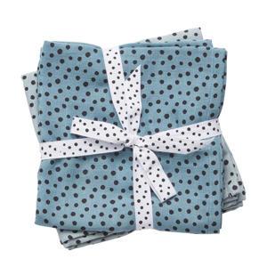 Happy Dots hydrofiele monddoekjes 70x70 cm (2 stuks) blauw
