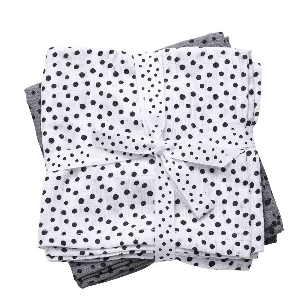Done by Deer Happy Dots hydrofiele monddoekjes 70x70 cm (2 stuks) grijs, Grijs