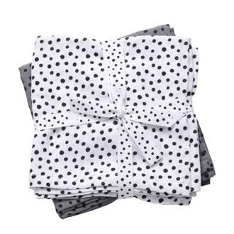 Happy Dots hydrofiele monddoekjes 70x70 cm (2 stuks) grijs