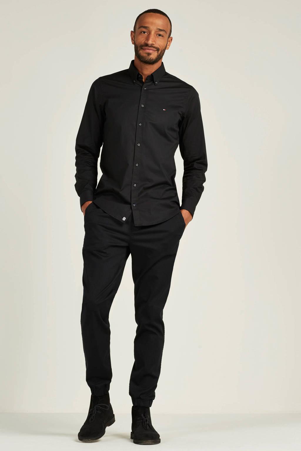 Tommy Hilfiger slim fit poplin overhemd zwart, Zwart