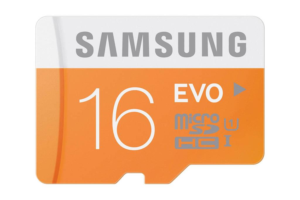Samsung MicroSDHC EVO Class 10 16GB geheugenkaart + adapter, Oranje;Wit