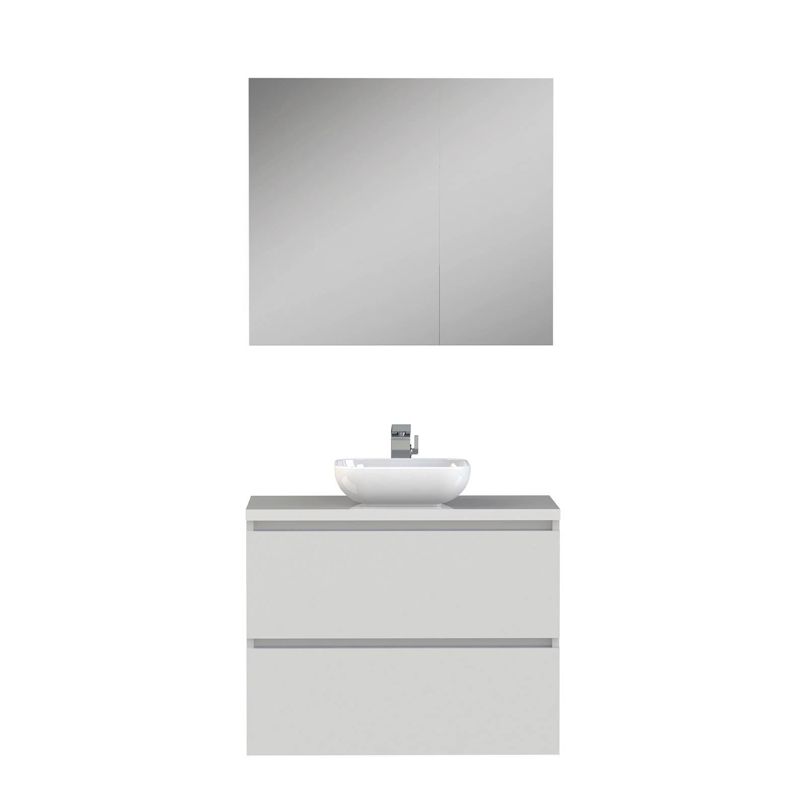 tiger loft badkamermeubel 80cm met spiegelkast en witte waskom wit