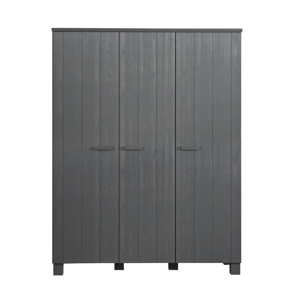 Woood 3-deurs kledingkast Dennis, Steel grey