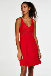 Hunkemöller slipdress Modal Lace rood, Rood