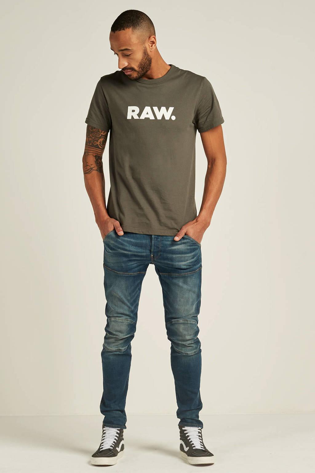 G-Star RAW Holorn T-shirt, Donkergroen/wit