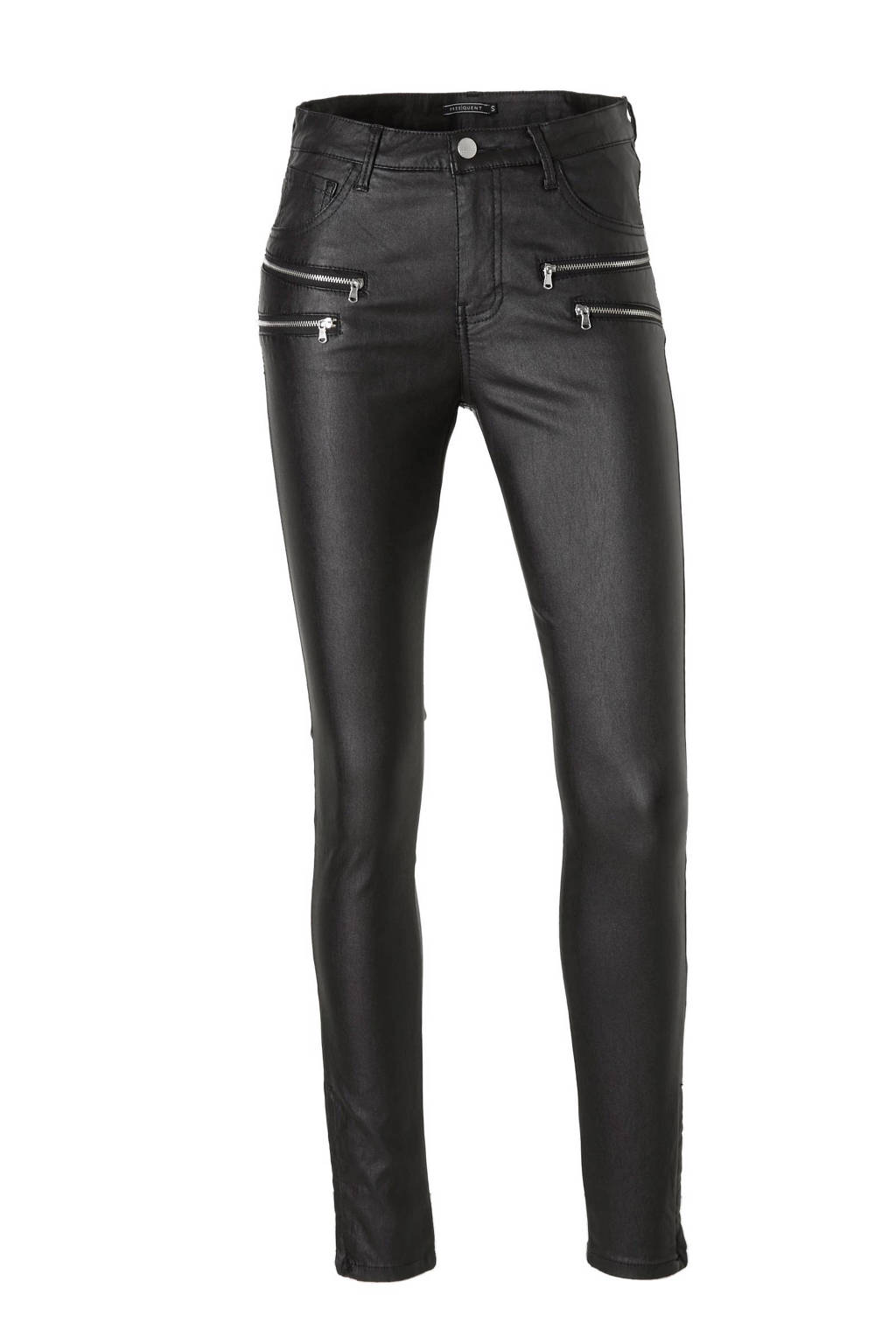 FREEQUENT 7/8 skinny fit coated broek, Zwart