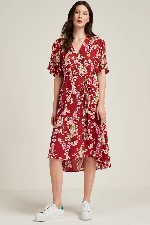 whkmp's own gerecycled polyester kimono jurk, Rood/ecru/rose