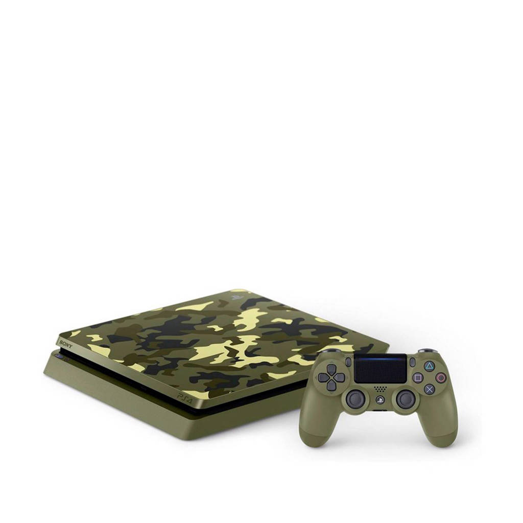 Sony PlayStation 4 Slim 1TB Camo edition - Call of Duty: WWII, Groen