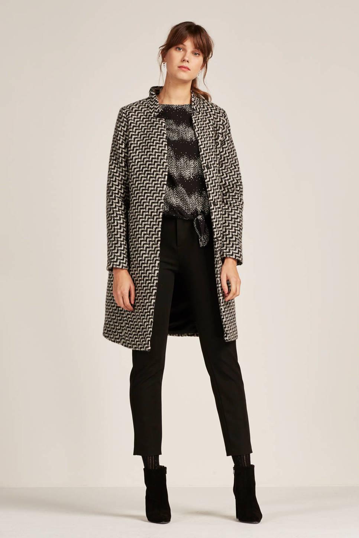 FREEQUENT coat met wol, Zwart/ecru/grijs
