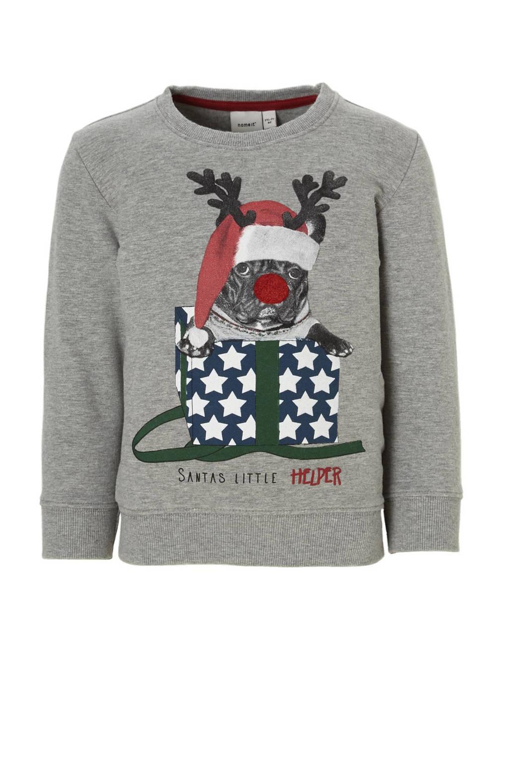 name it MINI sweater, Grijs melange/multi