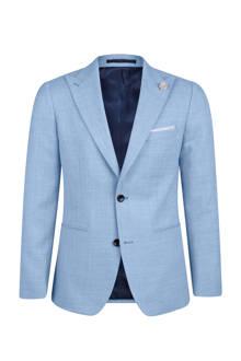 x Van Gils slim fit colbert met wol lichtblauw