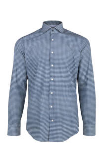 WE Fashion x Van Gils slim fit overhemd met all-over print blauw (heren)