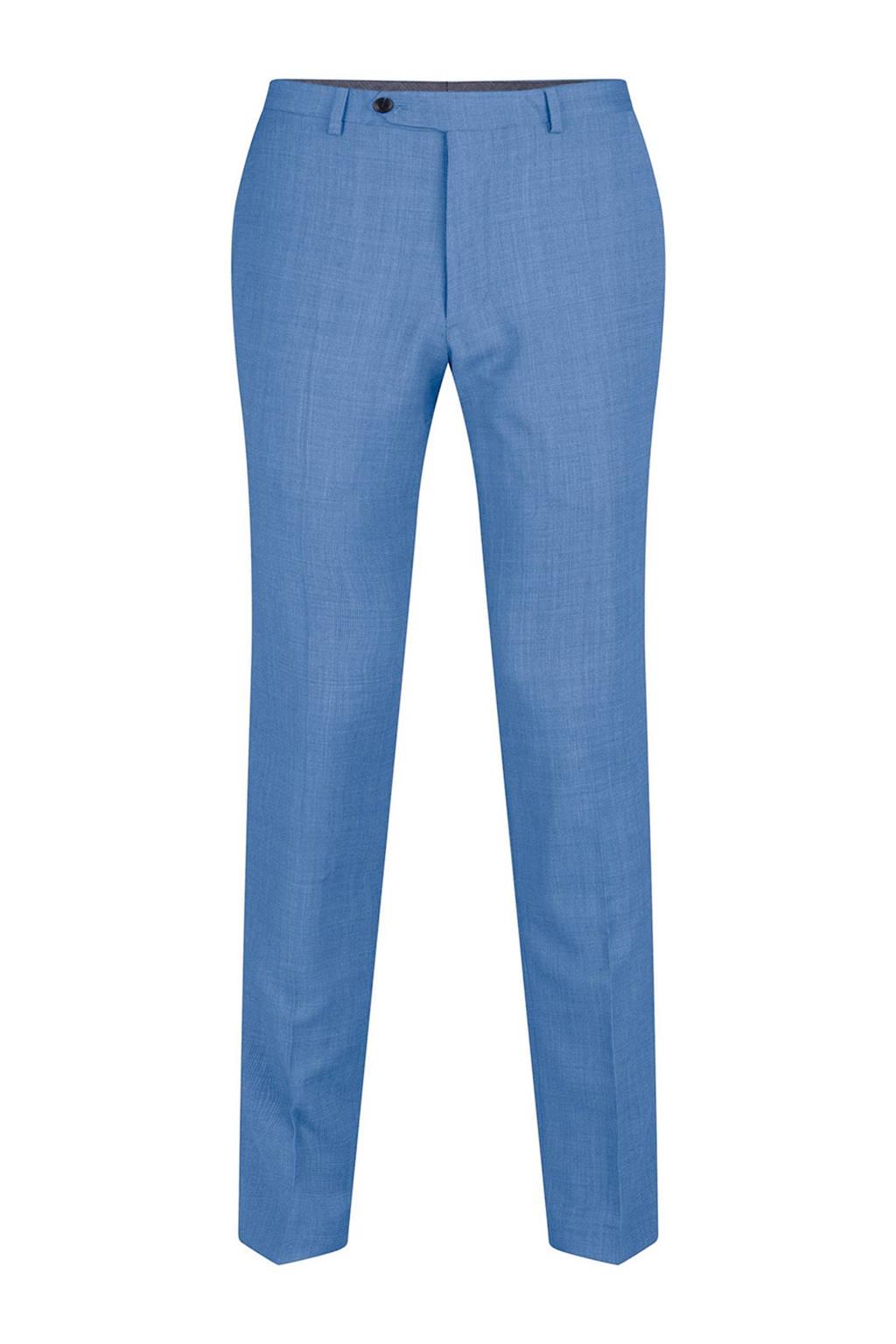 WE Fashion x Van Gils slim fit pantalon met wol, Lichtblauw