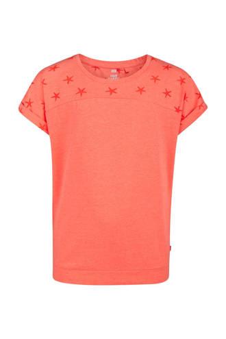 T-shirt met sterren koraalrood