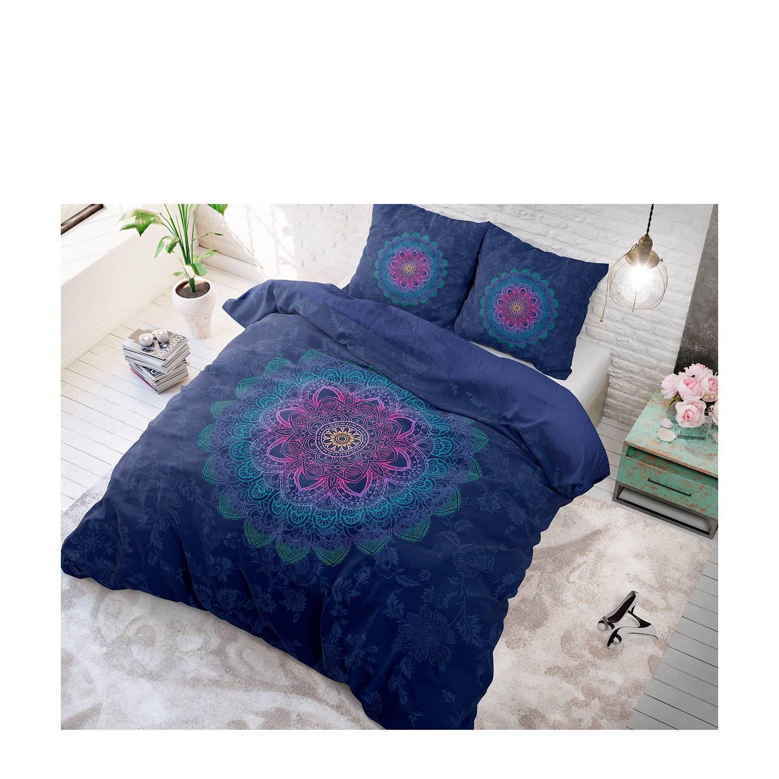 sleeptime katoenen dekbedovertrek 1 persoons donkerblauw