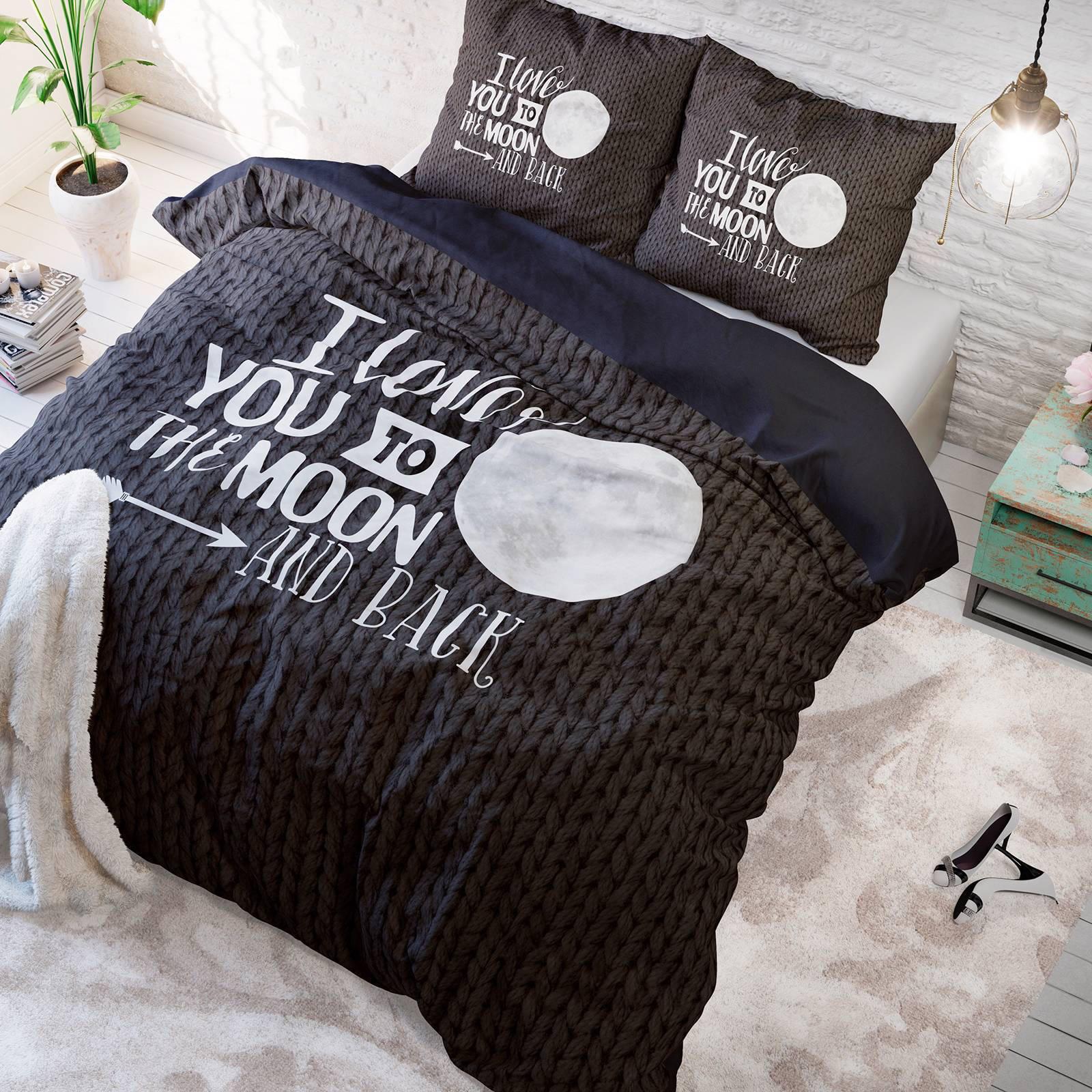 sleeptime katoenen dekbedovertrek 2 persoons zwart