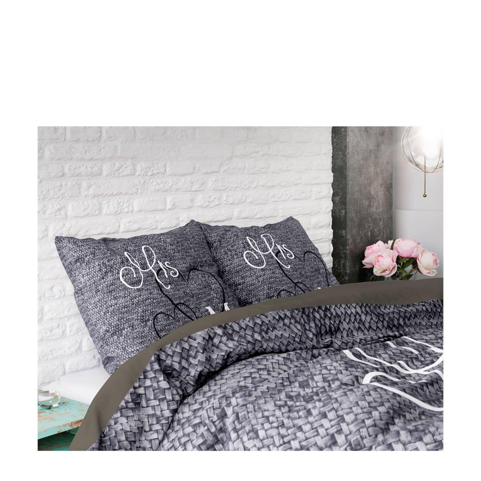 sleeptime katoenen dekbedovertrek 1 persoons grijs