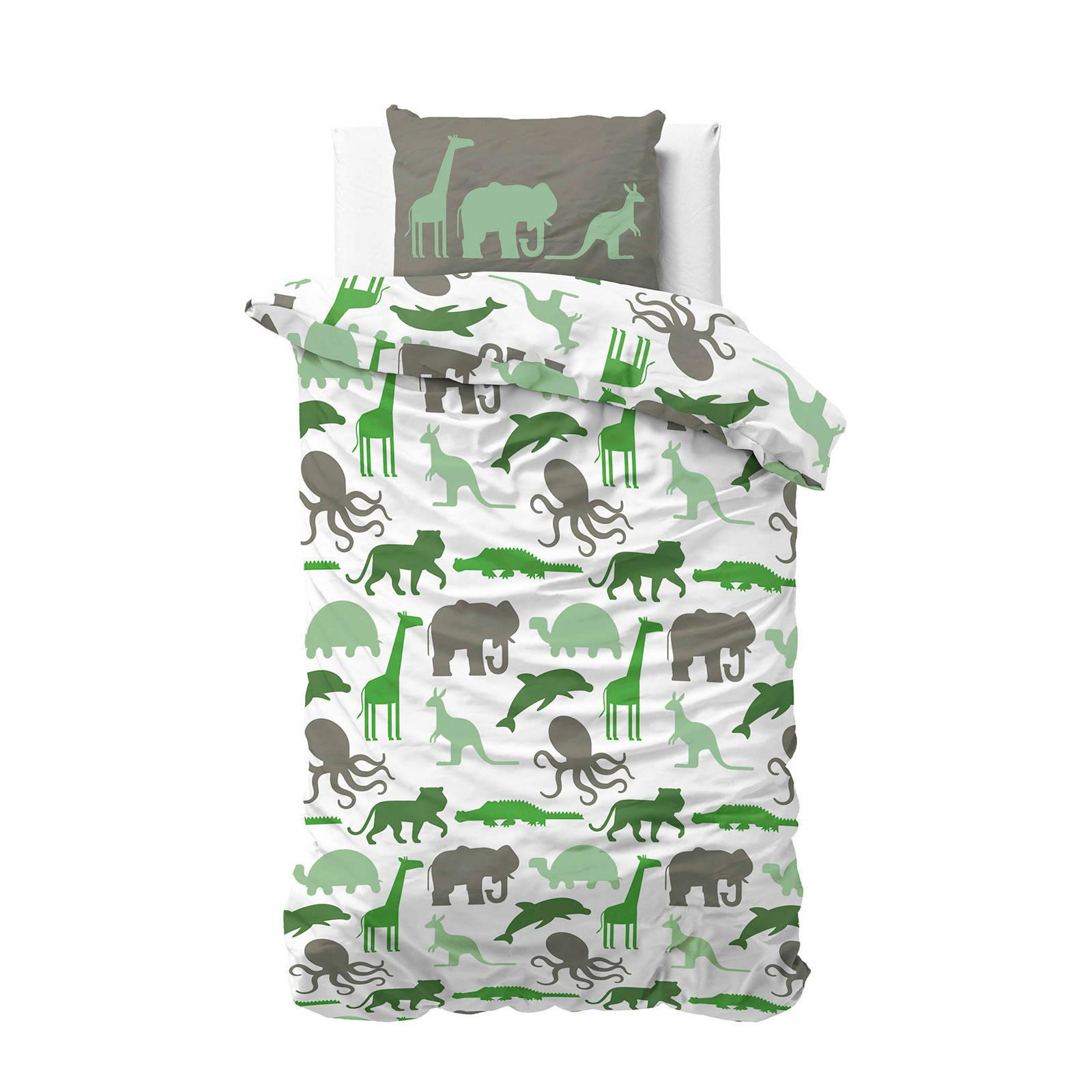 sleeptime katoenen dekbedovertrek 1 persoons groen