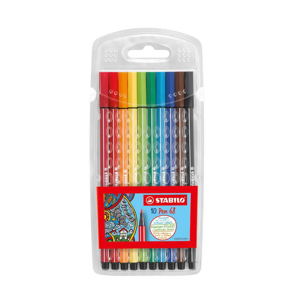 Stabilo pen 68 viltstiften (10 st.), Rood
