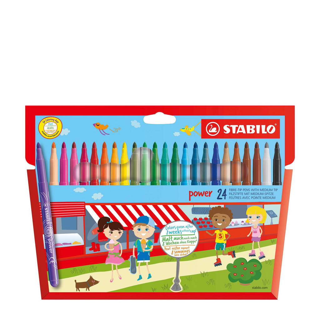 STABILO Viltstift - Power - Tot 8 Weken Zonder Dop - Etui Met 24 Kleuren