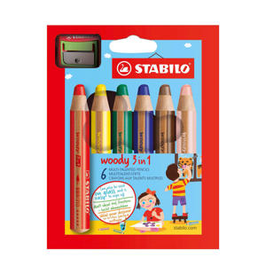 Woody potloden incl. puntenslijper (6 st.)