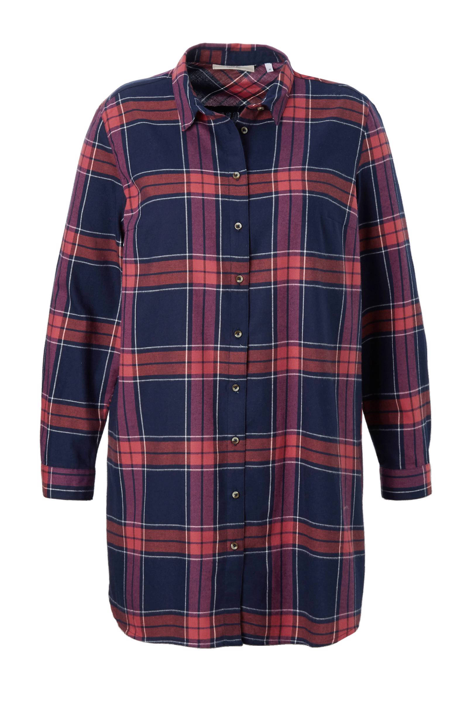 lange geblokte blouse