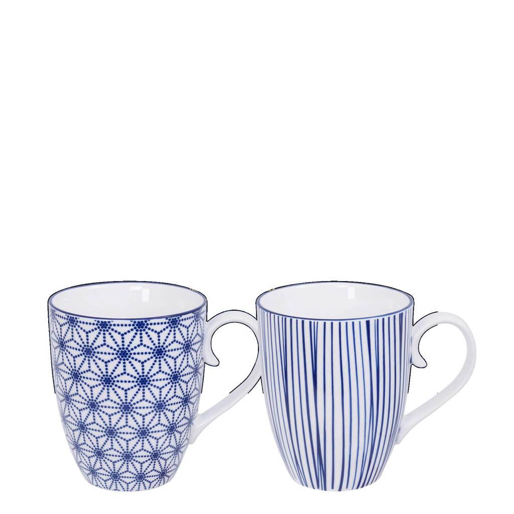 Tokyo Design Studio Nippon Blue mok (Ø8,5 cm) (set van 2), Blauw/wit