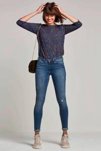 wehkamp super comfort skinny denim met destroy, Stonewashed blauw