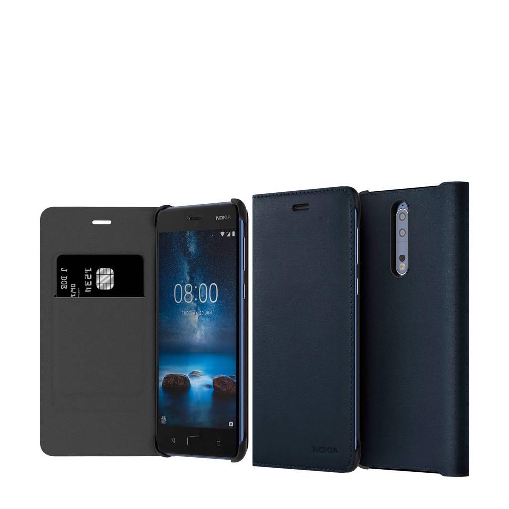 Nokia 8 leren flipcover, Blauw