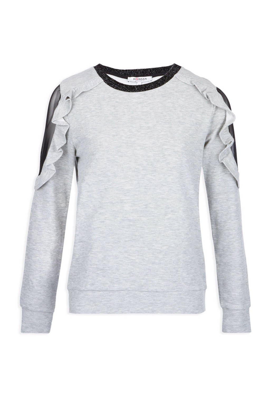 Morgan sweater met ruches, Grijs