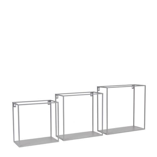 Kidsdepot Metalen Wandkastjes Set Van 3 Grijs