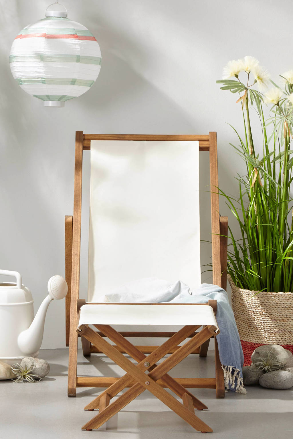 whkmp's own strandstoel St. Lucia (met voetenbank), Wit
