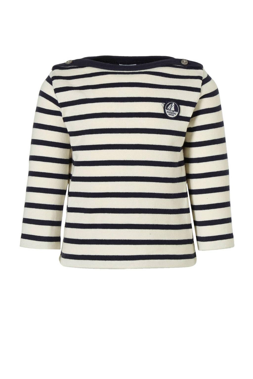 Petit Bateau katoenen trui, Wit/marineblauw