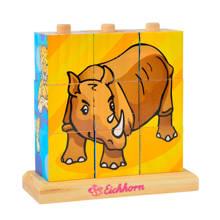 dieren blok houten vormenpuzzel 9 stukjes