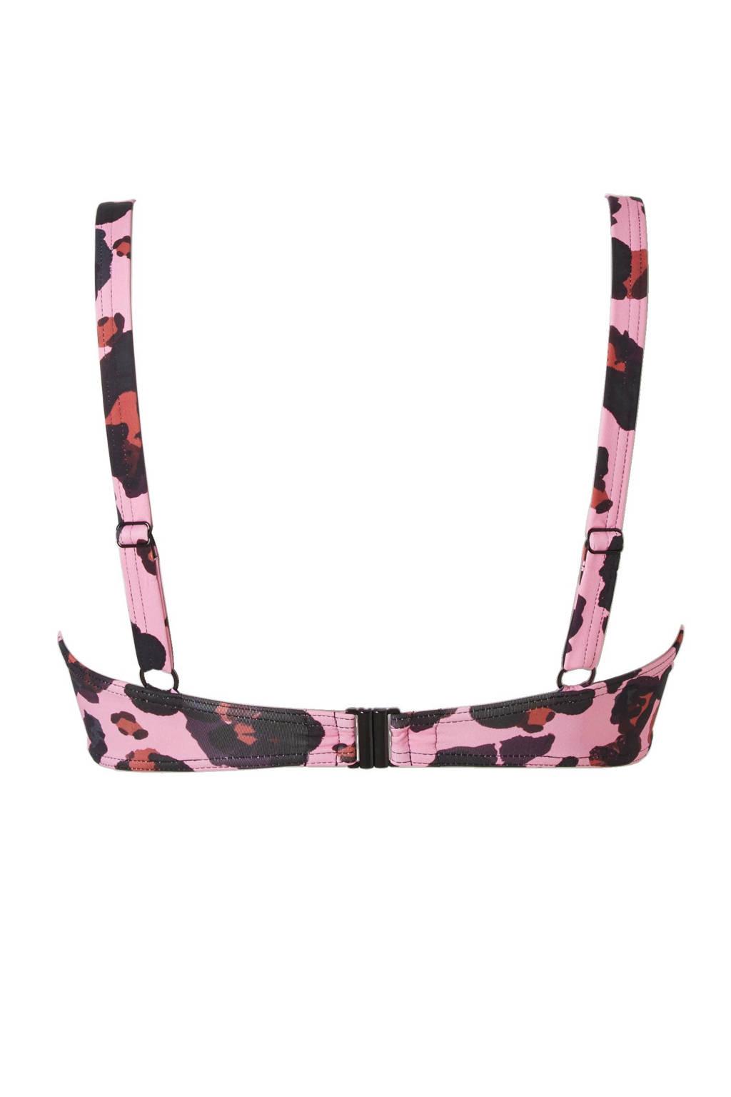 Cyell beugel bikinitop, Roze/zwart/bruin