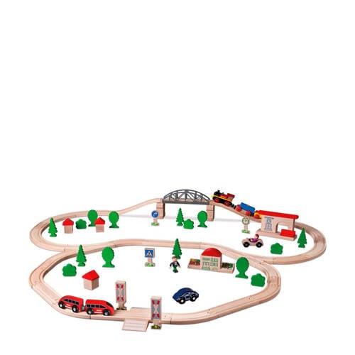 Eichhorn houten 89-delig treinset met accessoires kopen