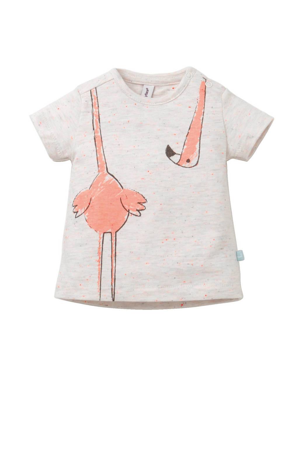 Babyface newborn baby T-shirt, Ecru melange/roze/grijs