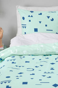 whkmp's own katoenen dekbedovertrek lits jumeaux, Lits-jumeaux (240 cm breed), Blauw