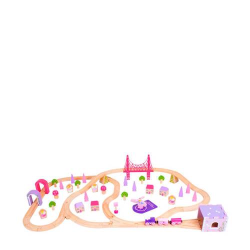 Houten Treinset Stad Roze