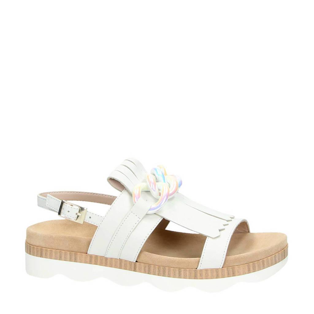 Tosca Blu leren sandalen met franjes, Wit